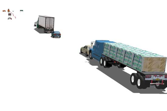Accident reconstruction and visibility studies are enhanced with camera-matched 3D video