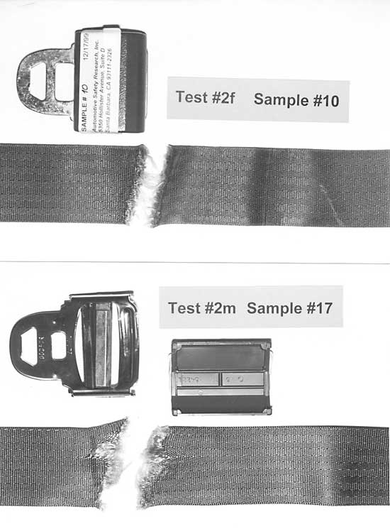 Failure mode forensic testing of seat belts